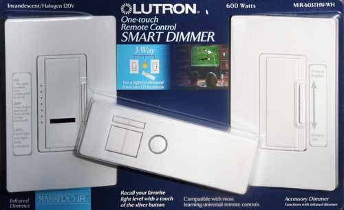 Lutron Maestro Dimmer with IR Remote MIR-603THW-WH